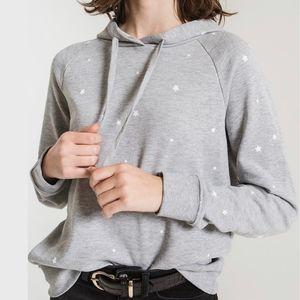 Z Supply Gray Star Print Fleece Pullover Hoodie
